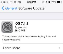 update to iOS 7.1.1 version via itunes