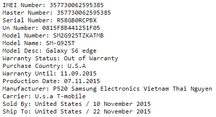 Samsung IMEI Check - SIM-Lock and Network check