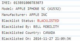 Bell Canada Blacklist IMEI Check Report