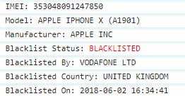 Vodafone UK Blacklist Status IMEI Check