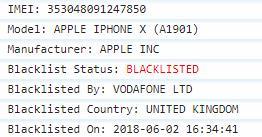 Vodafone UK Blacklist Status IMEI Check