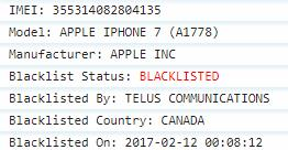 Telus Canada Full IMEI Check Blacklist Status