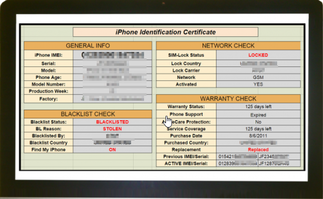 KDDI Japan IMEI Check Report Sample